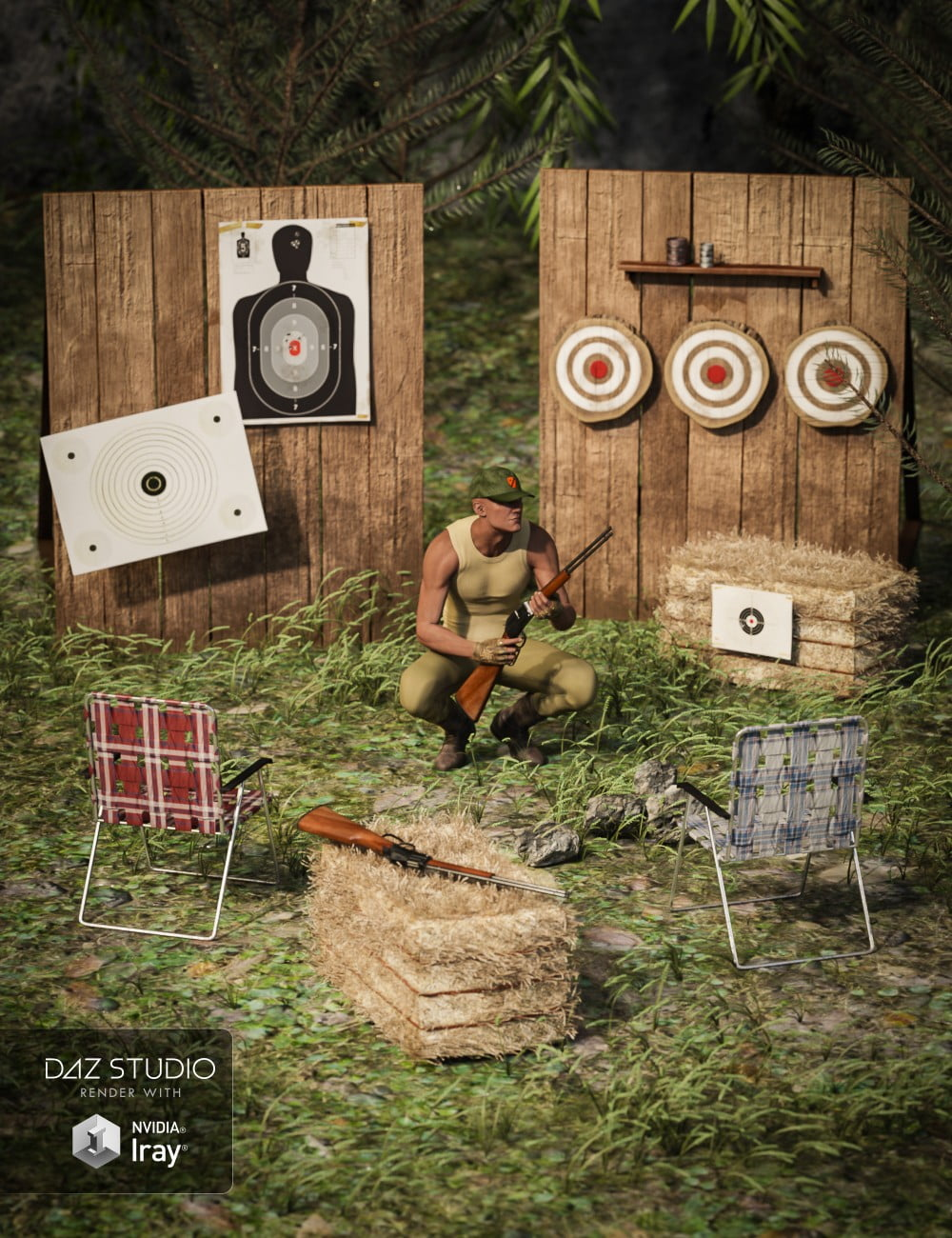 Backwoods Shooting Range for Genesis 3 and 8 Male(s) and Female(s)