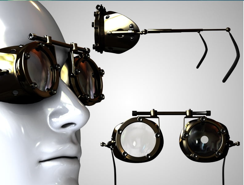 SP - Goggle Glasses for V4 and M4 - scenes-props, clothing, daz-poser-carrara