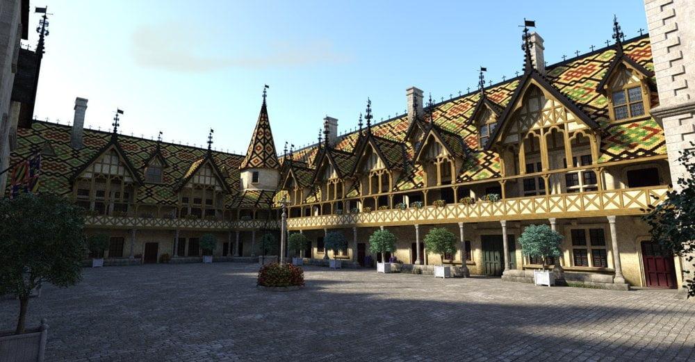 Beaune-Courtyard - scenes-props, daz-poser-carrara