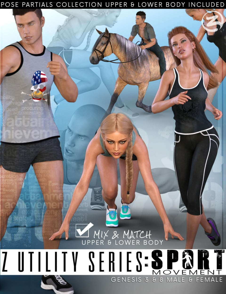 Z Utility Series Sport : Movement – Poses and Partials for Genesis 3 and 8