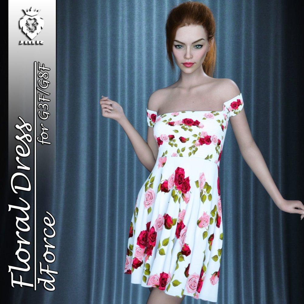 JMR dForce Floral Dress for G3F and G8F