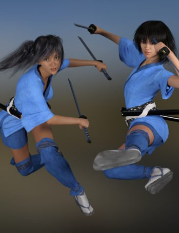 dForce Shinobi Outfit for Genesis 3 and Genesis 8 Female