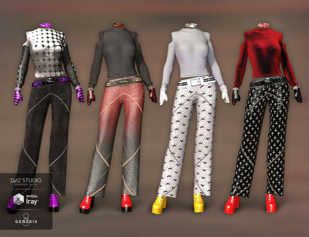 dForce Chic Fashion Gothic Outfit Textures - clothing, daz-poser-carrara