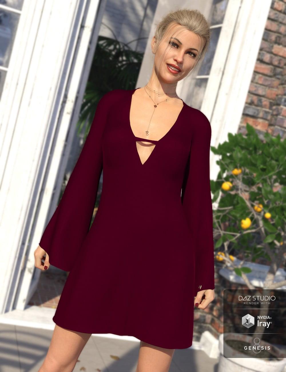 dForce Bell Sleeve Shift Dress for Genesis 8 Female(s) - clothing, daz-poser-carrara