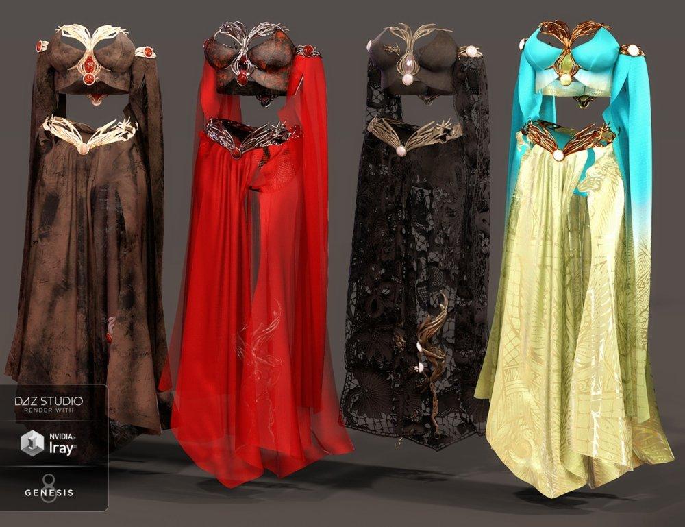dForce Magical Charm Outfit Textures - clothing, daz-poser-carrara