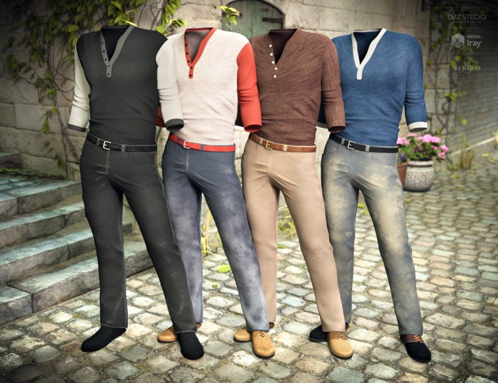 Henley Shirt and Jeans Outfit Textures - clothing, daz-poser-carrara