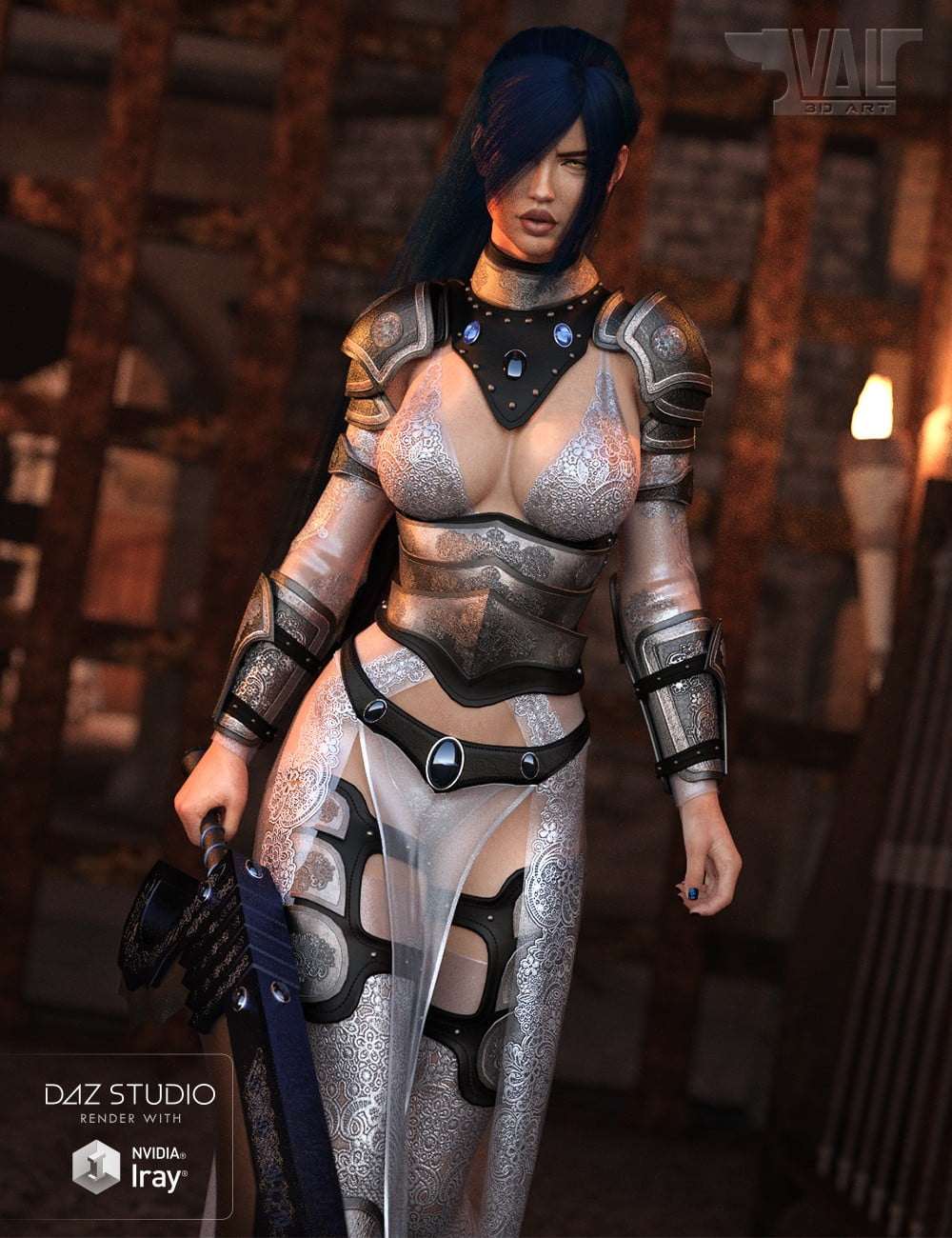 dForce Warrior of Dusk Outfit for Genesis 8 Female(s)