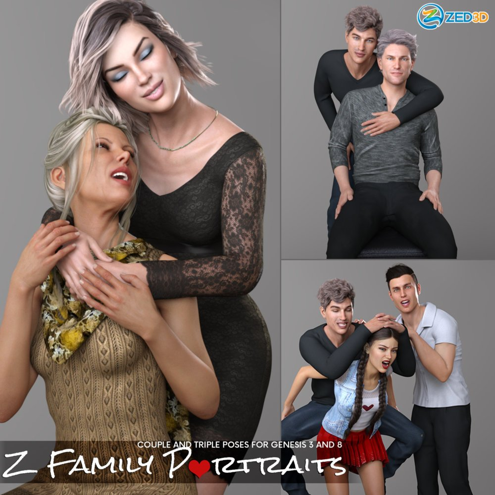 Z Family Portaits - Couple and Triple Poses for Genesis 3 and 8 Male and Female