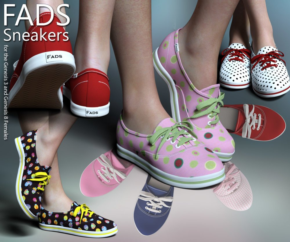 RP Fads Sneakers for Genesis 3 and Genesis 8 Females