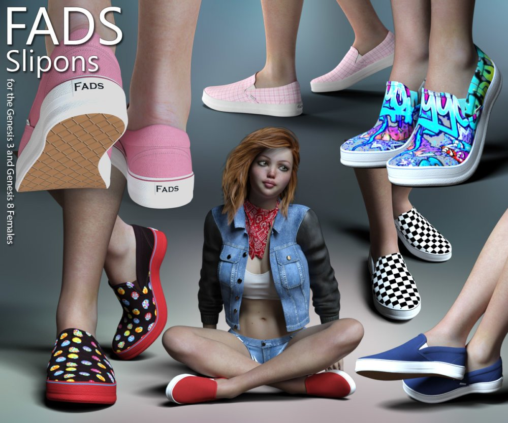 RP Fads Slip Ons for Genesis 3 and Genesis 8 Females