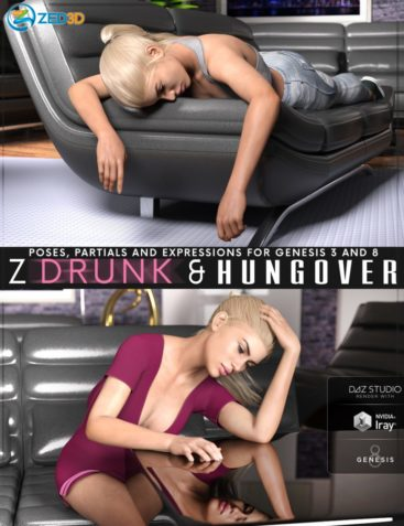 Z Drunk and Hungover - Poses with Partials and Expressions for Genesis 3 and 8