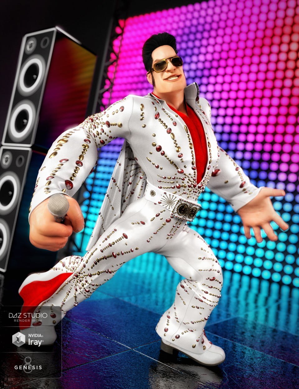 dForce King of Rock n Roll Outfit for Genesis 8 Male(s)
