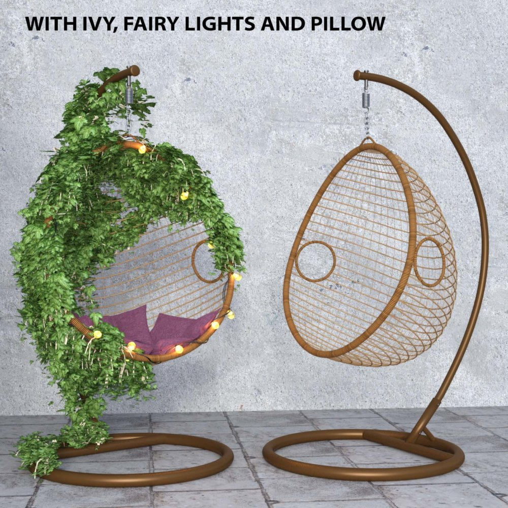 Swing Chair with ivy, pillow and fairy lights for Daz Studio