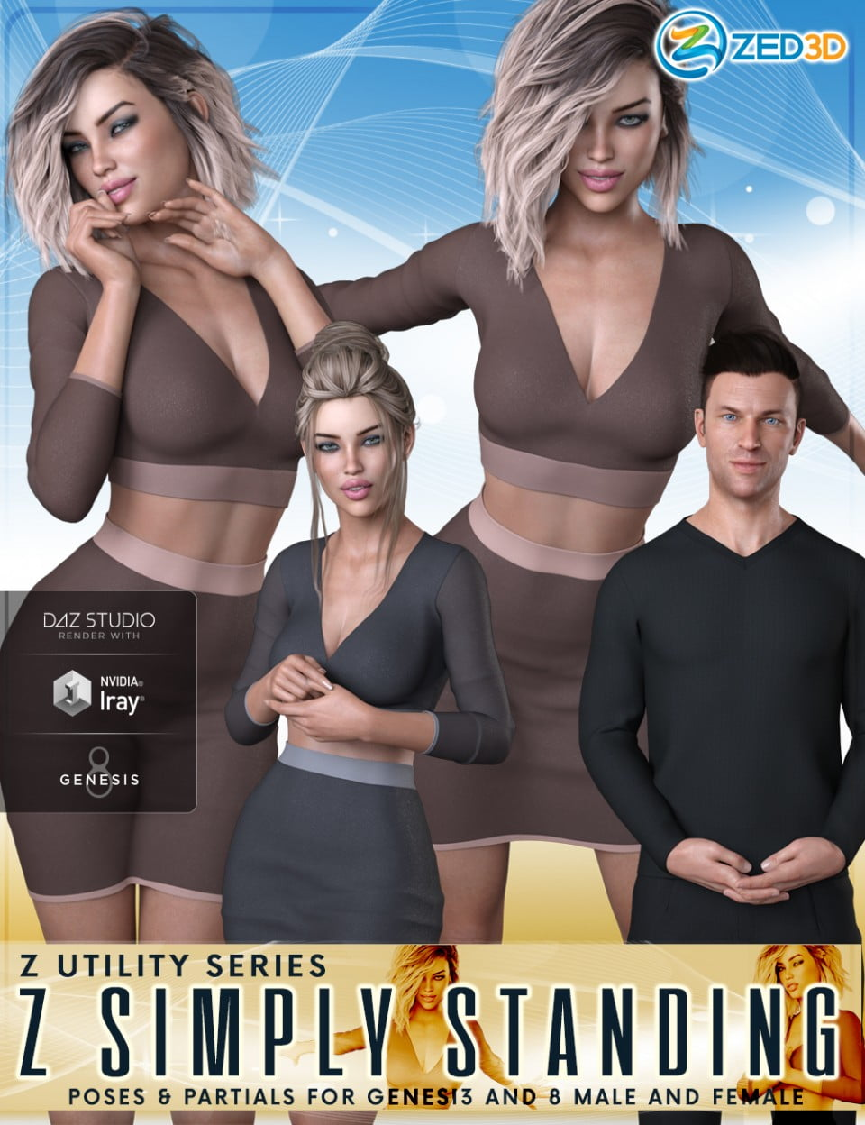 Z Utility Series: Simply Standing – Poses and Partials for Genesis 3 and 8