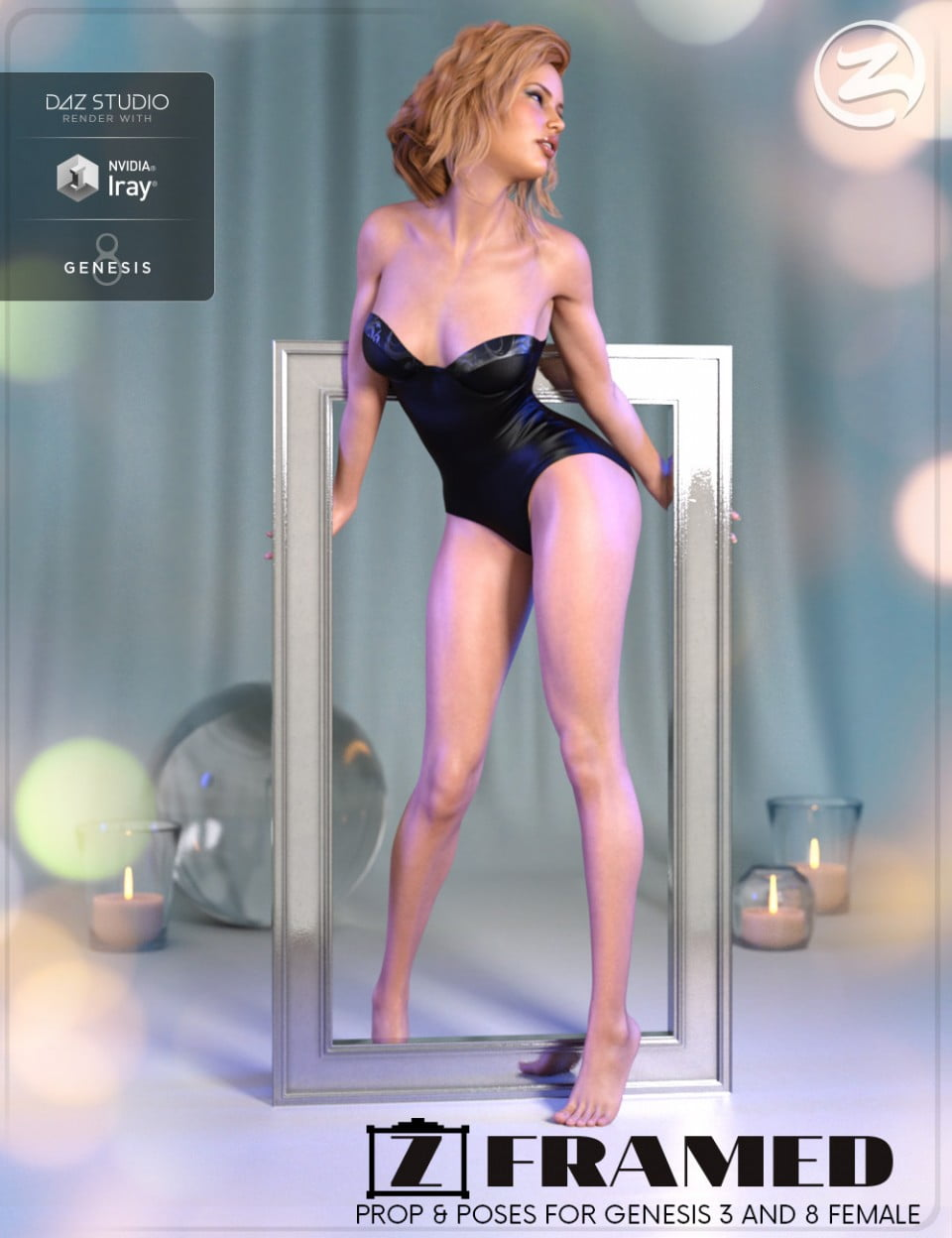 Z Framed – Prop and Poses for Genesis 3 and 8 Female