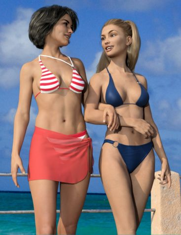 dForce RealFit Ring Bikini & Wrap for Genesis 3 and 8 Female(s)