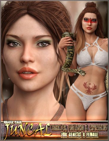 EJ Juncal Deluxe Pack for Genesis 8 Female Character, Fantasykini and Expressions