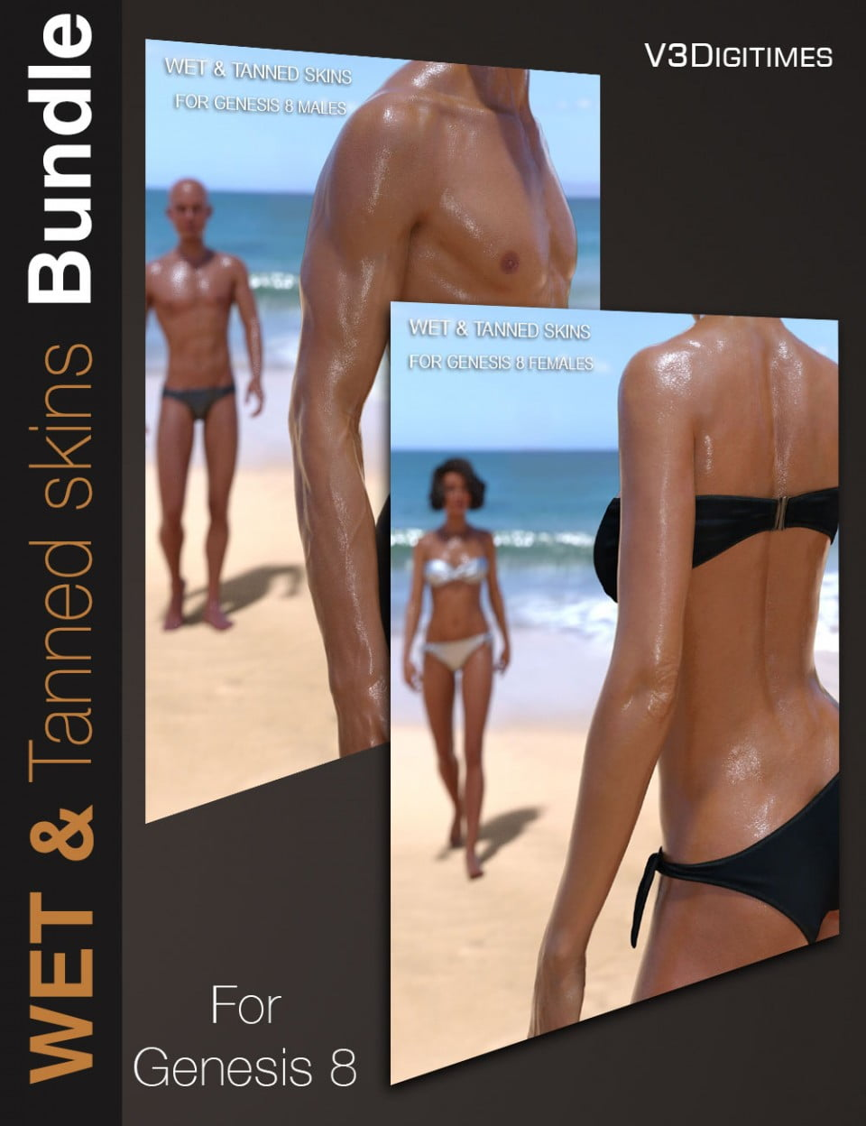 Wet and Tanned Skins for Genesis 8 Bundle
