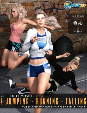 Z Utility Series: Jumping Running Falling - Poses and Partials for Genesis 3 and 8