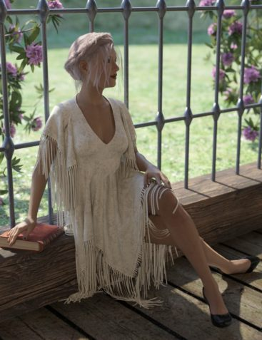 dForce Fringed Breezy Dress for Genesis 3 and 8 Female(s)