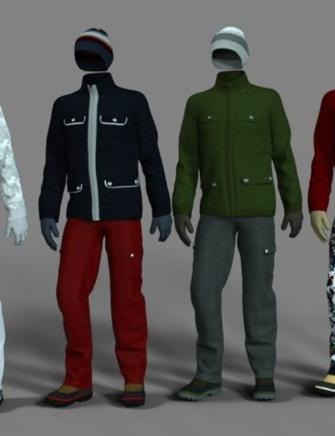 dForce Winter Snow Outfit Male Textures