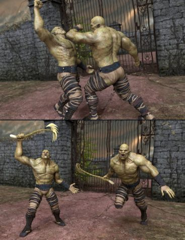 Orc Battle Poses for Orc HD and Genesis 8 Male