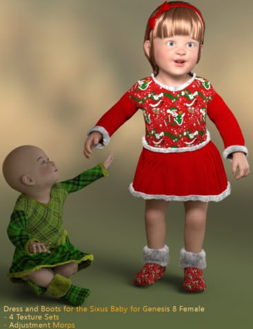 Lil Santa Dress for Sixus1 The Baby G8F