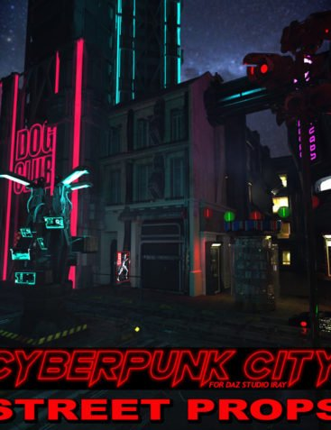 Cyberpunk City STREET PROPS for DS Iray
