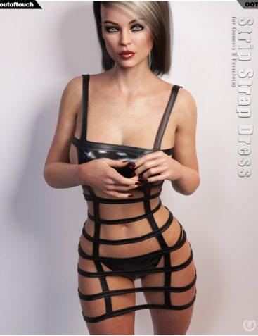 Strip Strap Dress for Genesis 8 Females