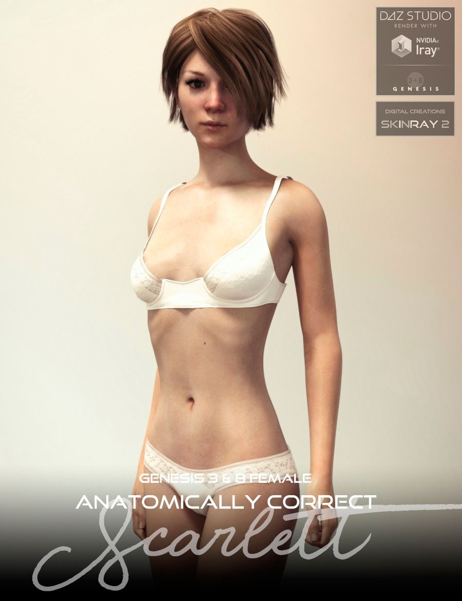 Anatomically Correct: Scarlett for Genesis 3 and Genesis 8 Female