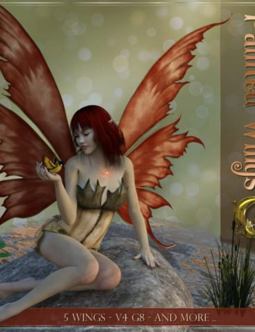 Painted Wings For DAZ and V4-G8 and more