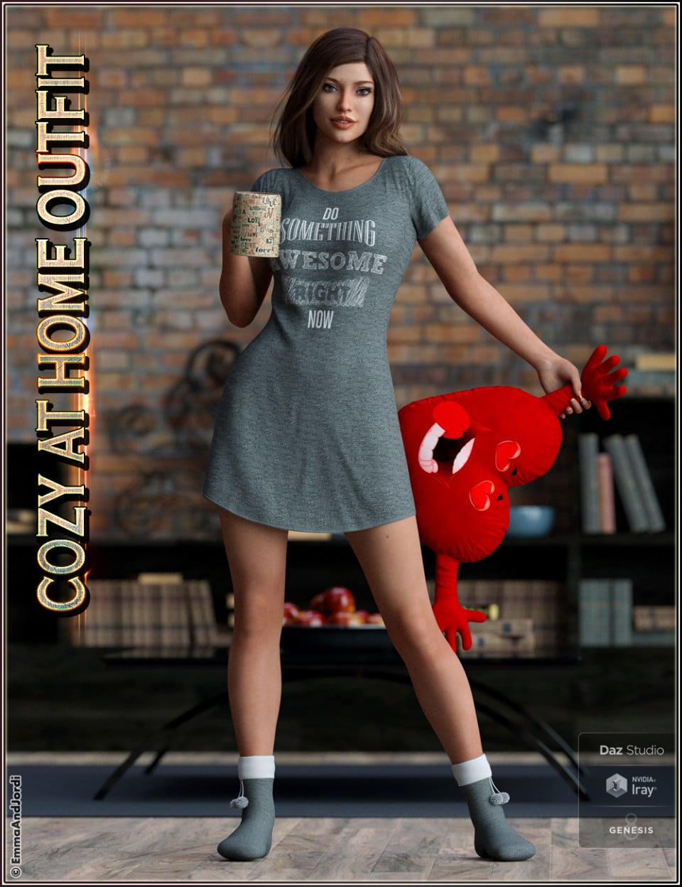 dForce Cozy Outfit – Props and Poses For Genesis 8 Female(s)