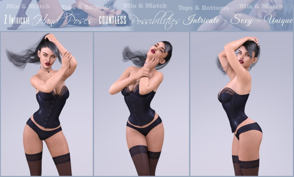 Z Intricate Hands Poses and Partials for Genesis 3 and 8 Female