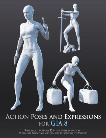 Action Poses and Expressions for Gia 8