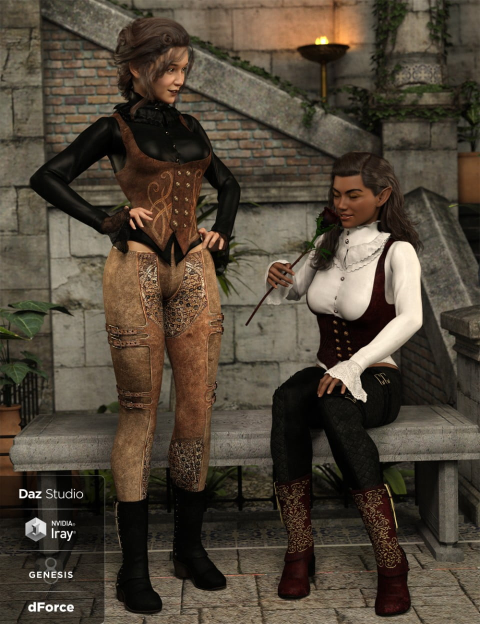 dForce Burgundy Creed Outfit Textures