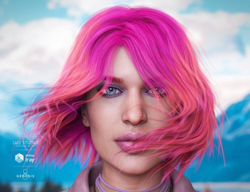 Riley Hair for Genesis 8 and Genesis 3 Female(s)