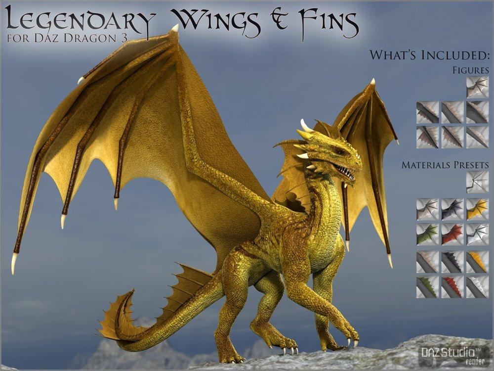 Legendary Wings & Fins HD for DAZ Dragon 3