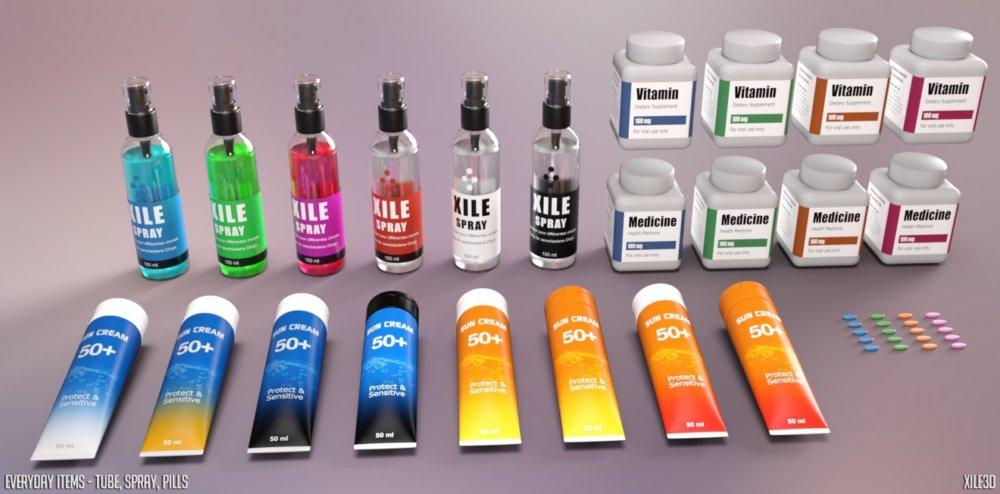 Everyday Items - Tube, Spray, Pills