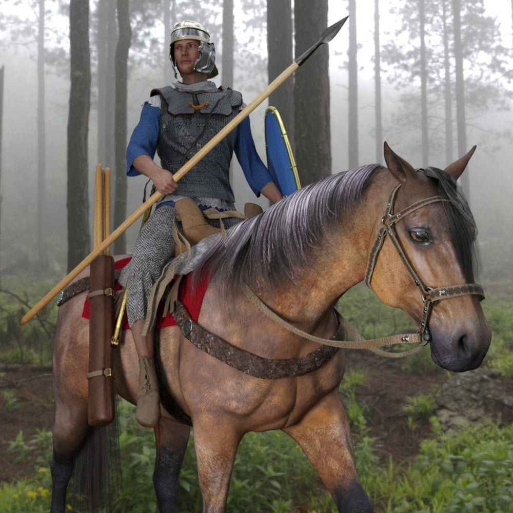 dForce Roman Cavalry for Genesis 8 Male and Daz Horse 2