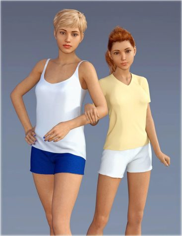 dForce H&C Sleep Shorts Outfits for Genesis 8 Female(s)