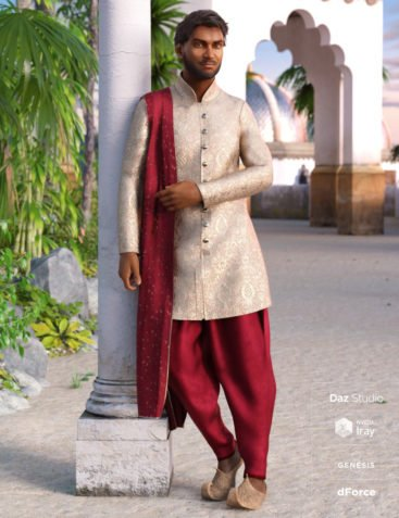 dForce Traditional East Indian Outfit for Genesis 8 Male(s)