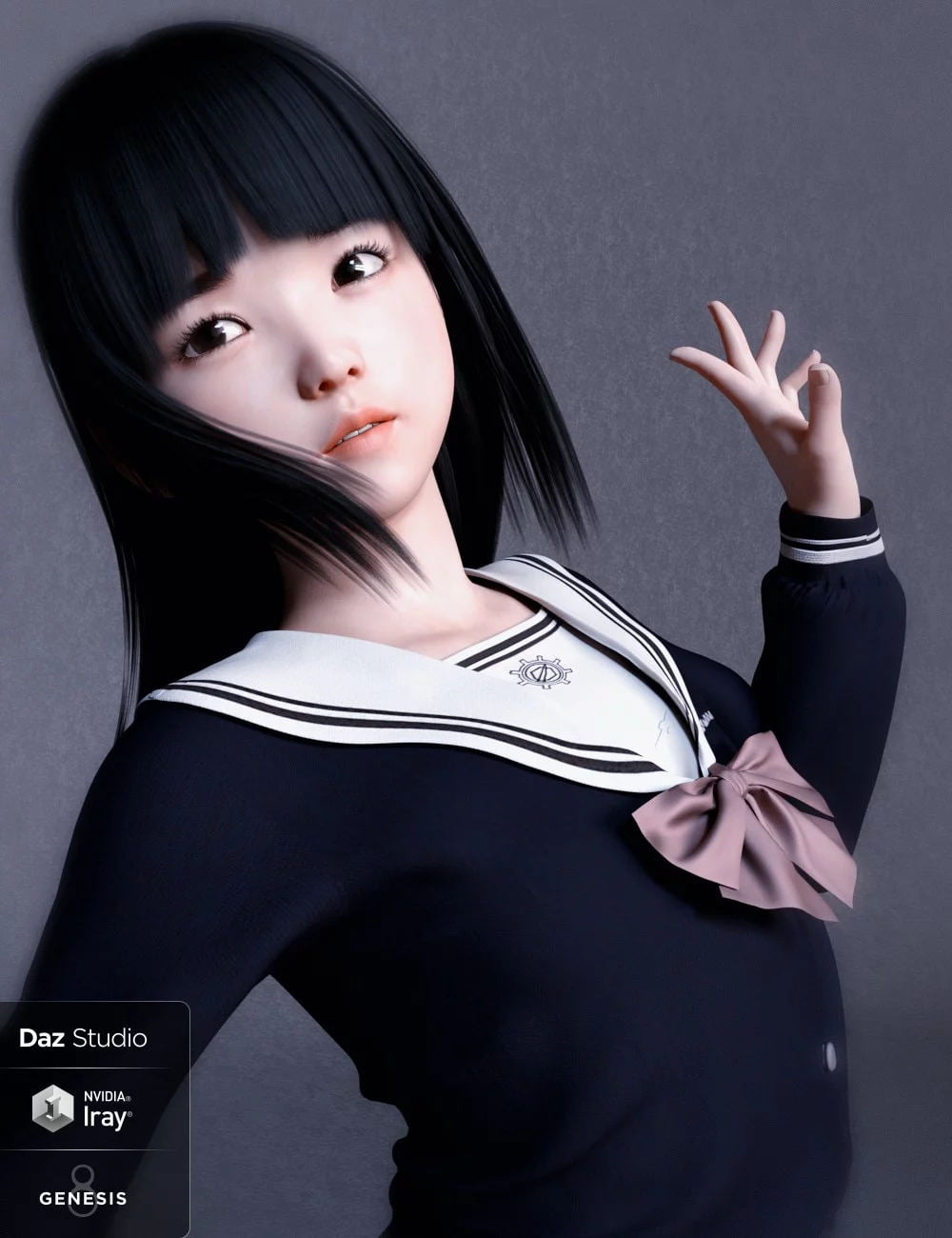 Yui Character and Hair for Genesis 8 Female