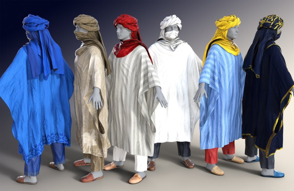 dForce Moroccan Blue Man Outfit for Genesis 8 Male(s)