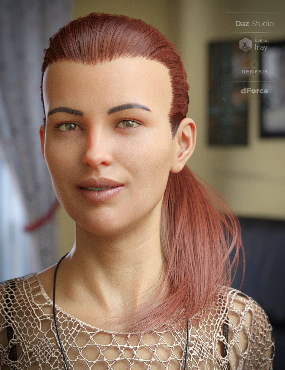 dForce Hair Elyssa Ponytail for Genesis 8 Female(s) ⋆ 3d