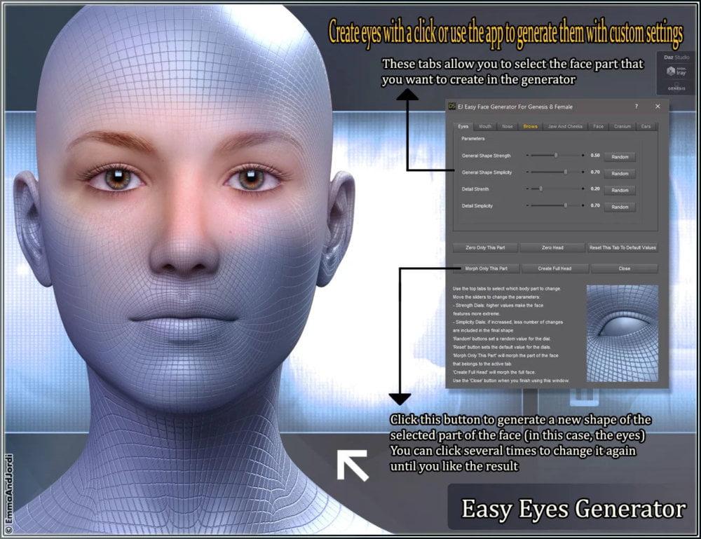 EJ Easy Face Generator For Genesis 8 Female(s) ⋆ 3d-stuff Community