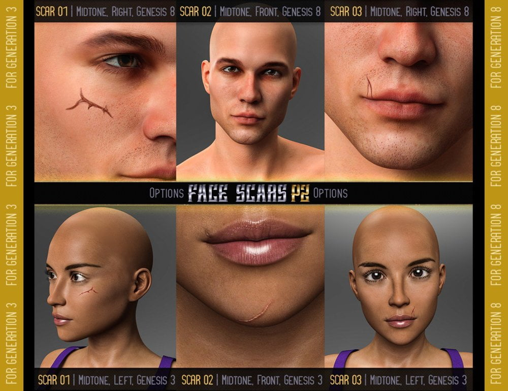 L.I.E. FACE SCARS for Genesis 3 and 8 Pack 2