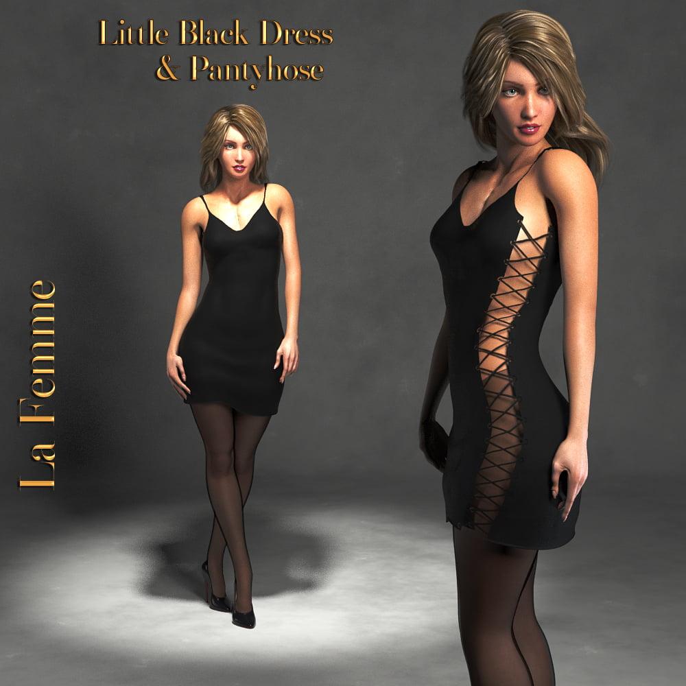 La Femme Little Black Dress and Stockings