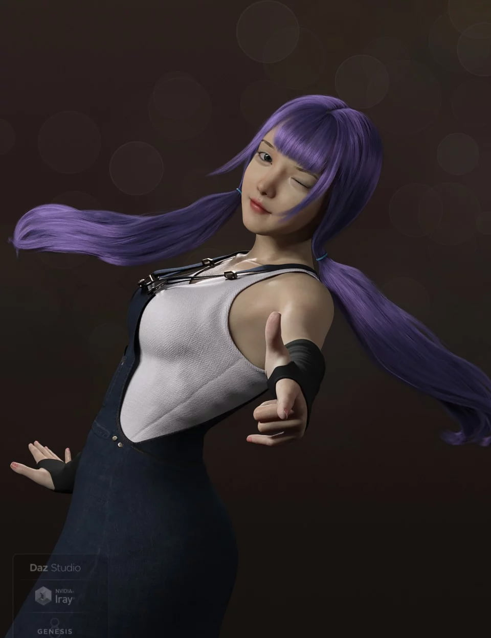 Qiqi Twintail Hair For Genesis 8 Female(s)
