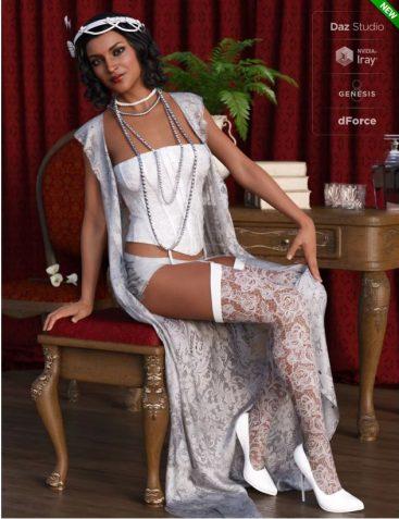dForce 1920s Boudoir Outfit for Genesis 8 Female(s)