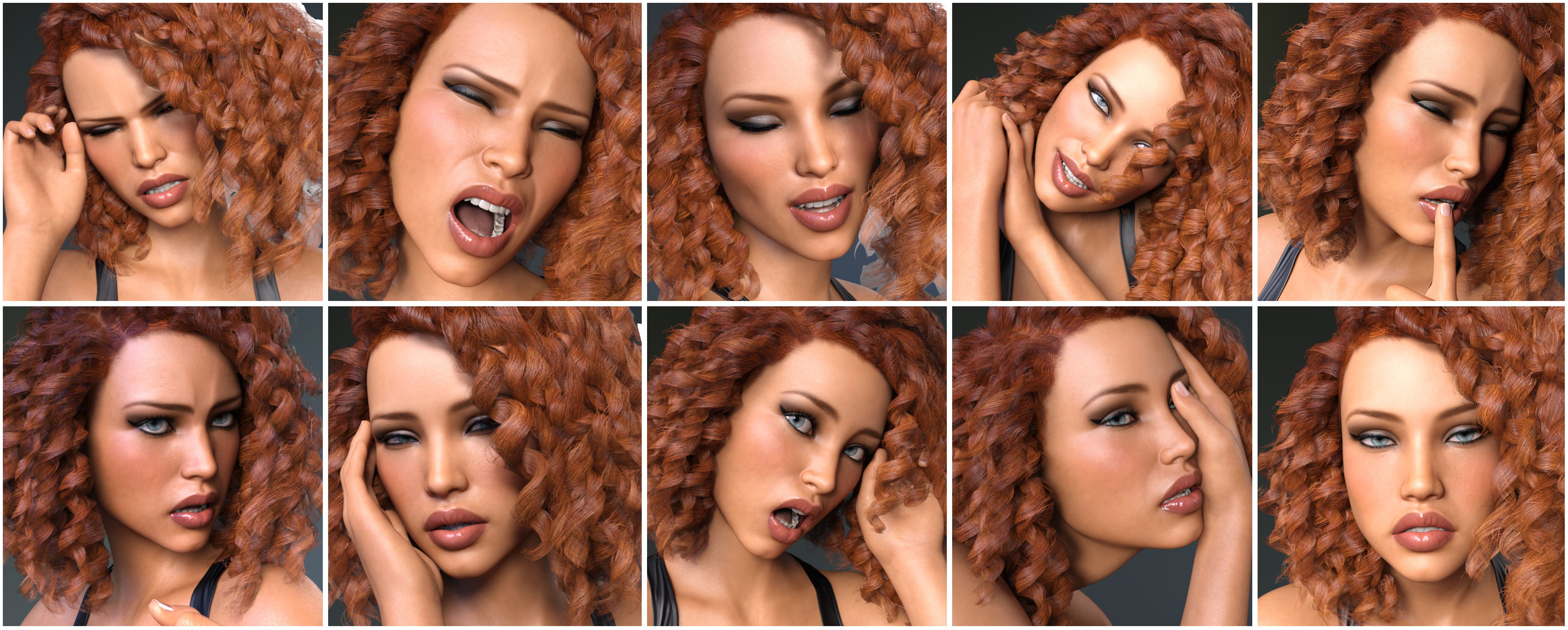 Z Pain and Pleasure Expressions for Genesis 3 and 8 Female